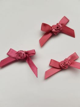Dusky Pink Ribbon with Rose Centre (Pack of 8)