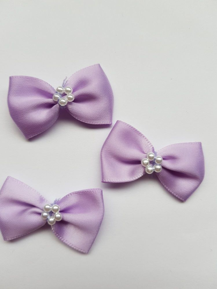 Lilac Bow with Bead Centre (each)