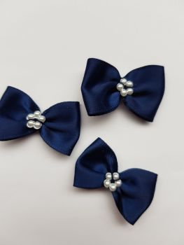 Navy Bow with Bead Centre (Pack of 8)