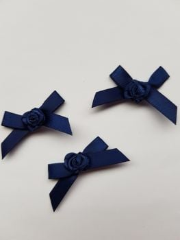 Navy Ribbon with Rose Centre (Pack of 8)