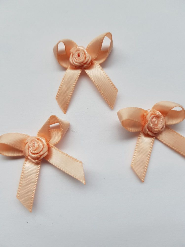 Peach Ribbon with Rose Centre (each)