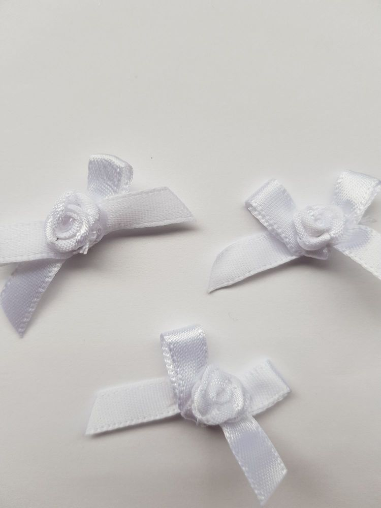 White Ribbon with Rose Centre (each)