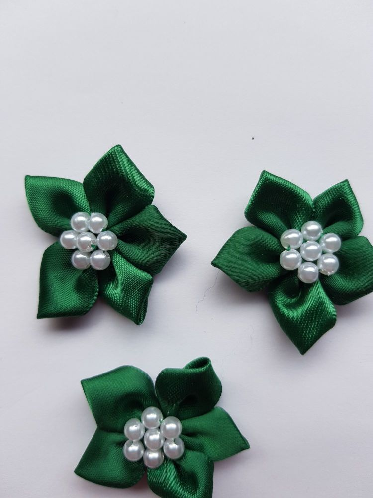 Bottle Green Satin Flower with Bead Centre (each)