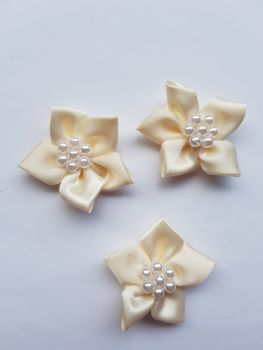 Cream Satin Flower with Bead Centre (each)
