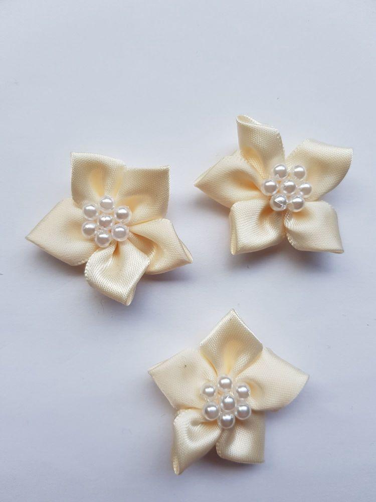 Cream Satin Flower with Bead Centre (each)