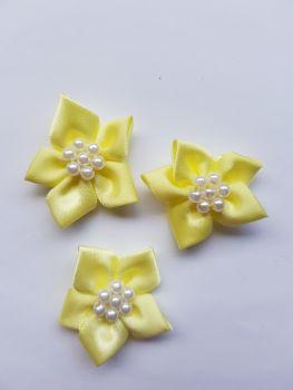 Lemon Satin Flower with Bead Centre (each)