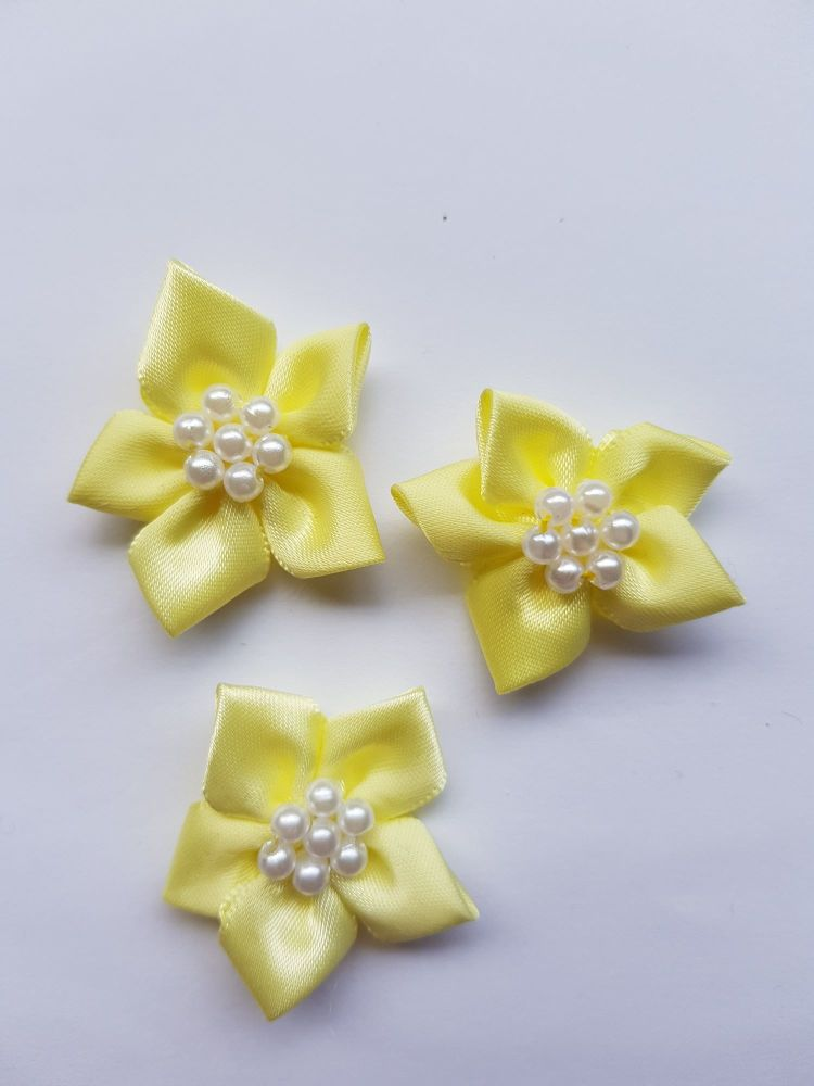 Lemon Satin Flower with Bead Centre (each)