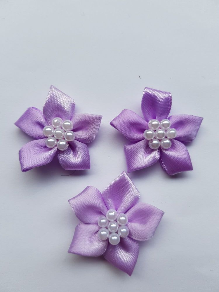Lilac Satin Flower with Bead Centre (each)