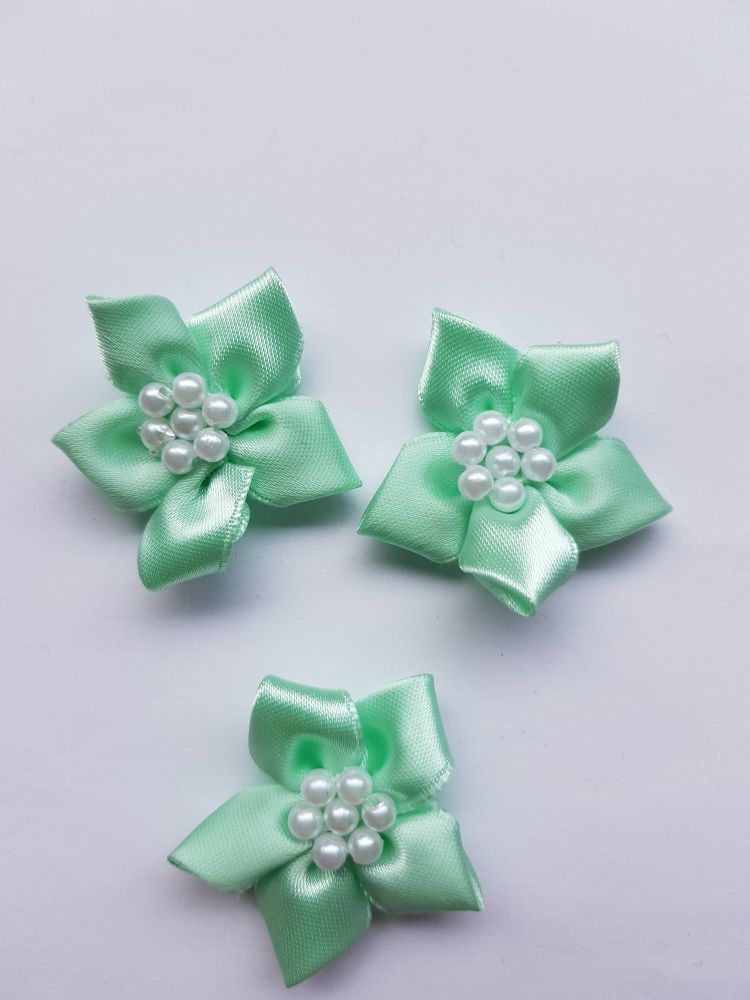 Mint Satin Flower with Bead Centre (each)