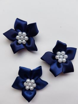 Navy Satin Flower with Bead Centre (Pack of 5)