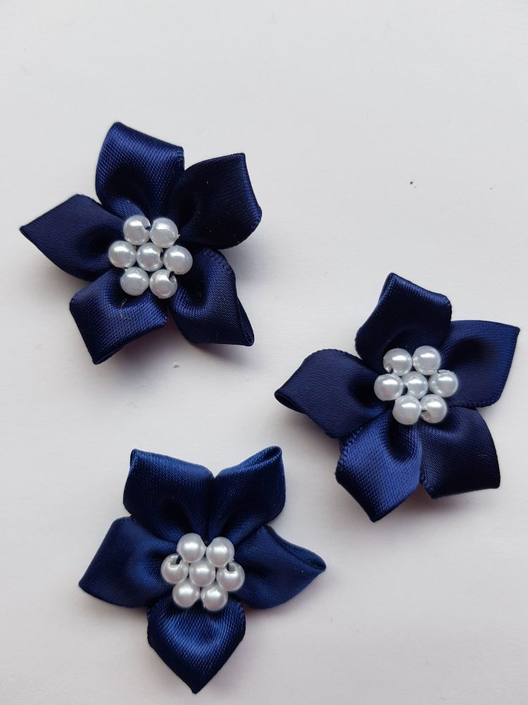 Navy Satin Flower with Bead Centre (each)
