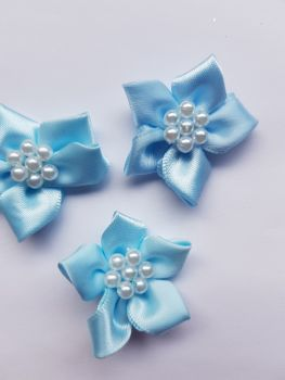 Blue Satin Flower with Bead Centre (each)