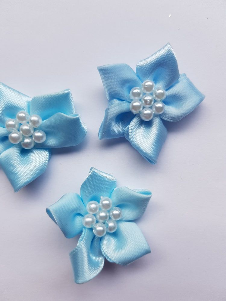 Pale Blue Satin Flower with Bead Centre (each)