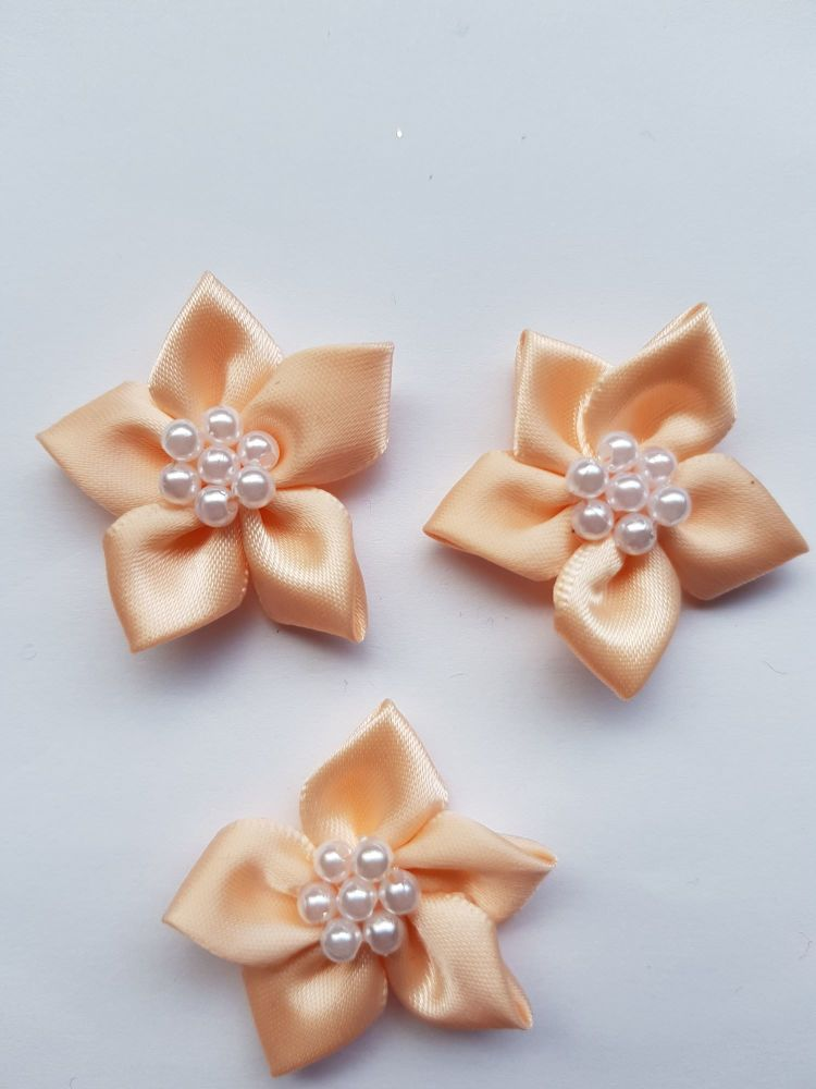Peach Satin Flower with Bead Centre (each)