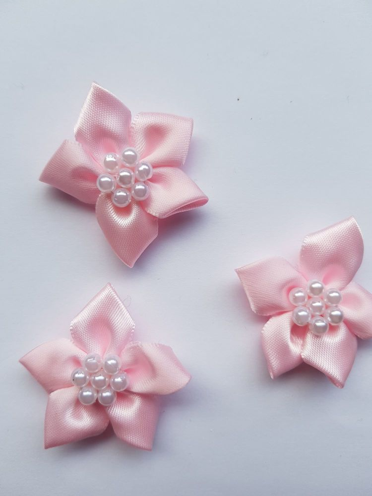 Pink Satin Flower with Bead Centre (each)
