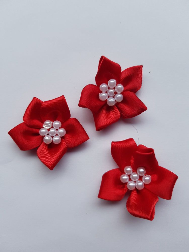 Red Satin Flower with Bead Centre (each)