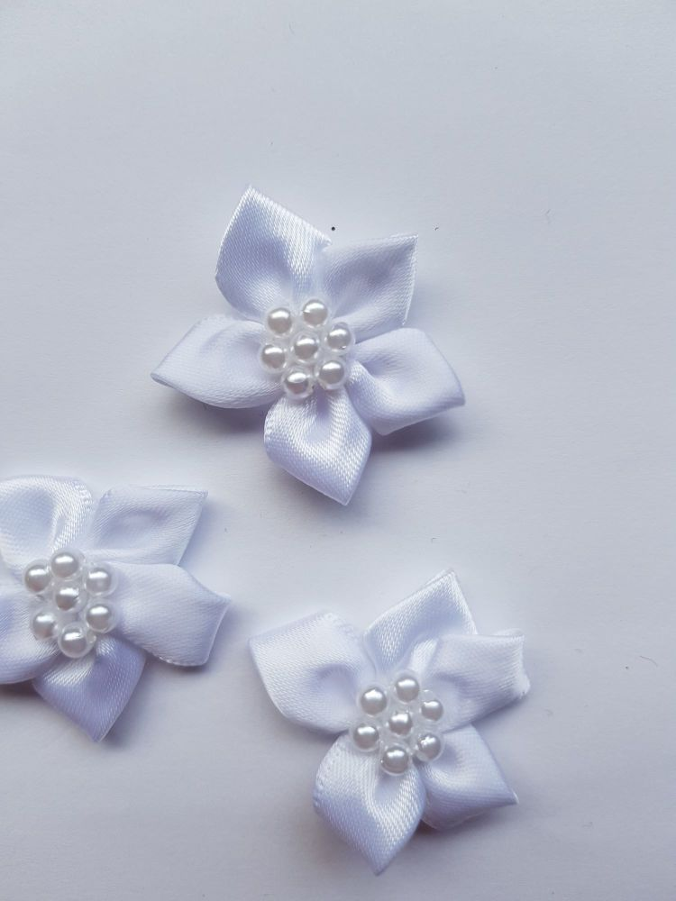 White Satin Flower with Bead Centre (each)