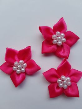 Cerise Satin Flower with Bead Centre (Pack of 5)
