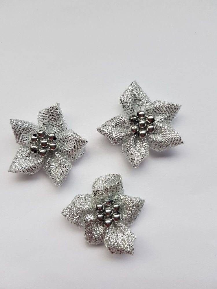 Silver Satin Flower with Bead Centre (each)