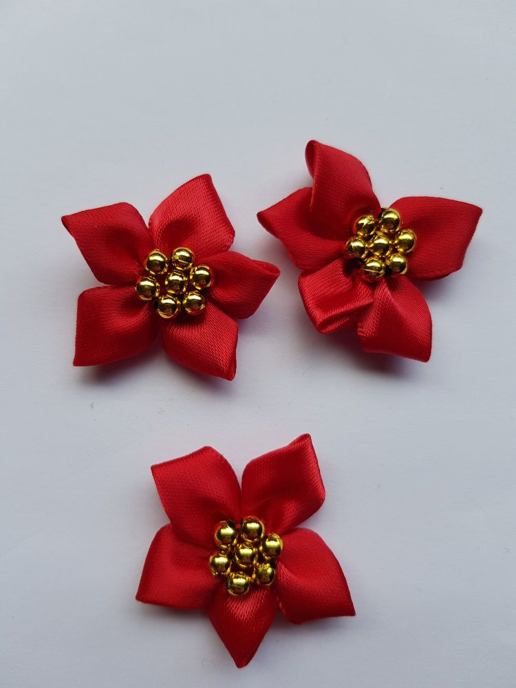 Red with Gold Satin Flower with Bead Centre (each)