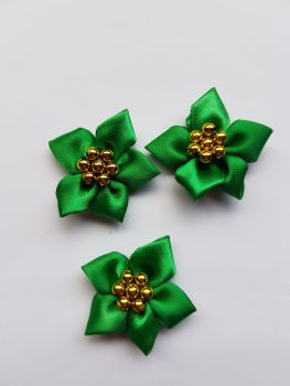Green with Gold Satin Flower with Bead Centre (each)