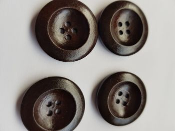 Brown Wooden Button 25mm (each)