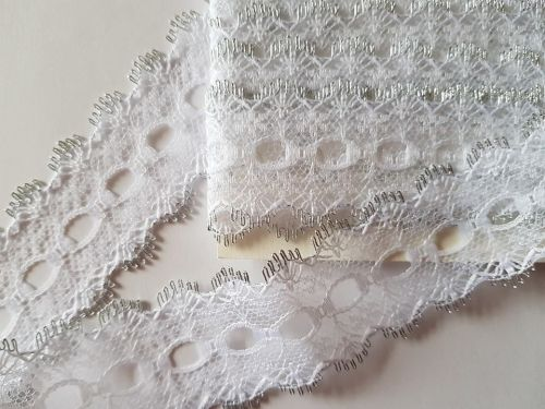 Eyelet Lace - White with Silver (2 metres)