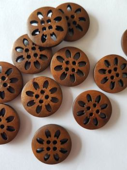 Brown Wooden Button - Holes Design 25mm (each)
