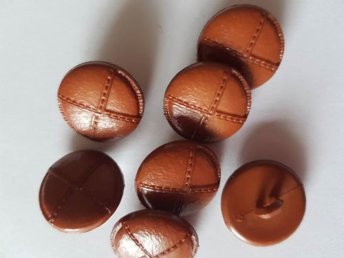 Brown Leather Look Shank Button 19mm (each)