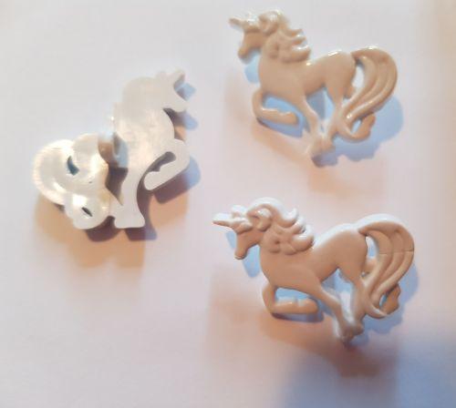 Unicorn Button -  White 25mm (each)