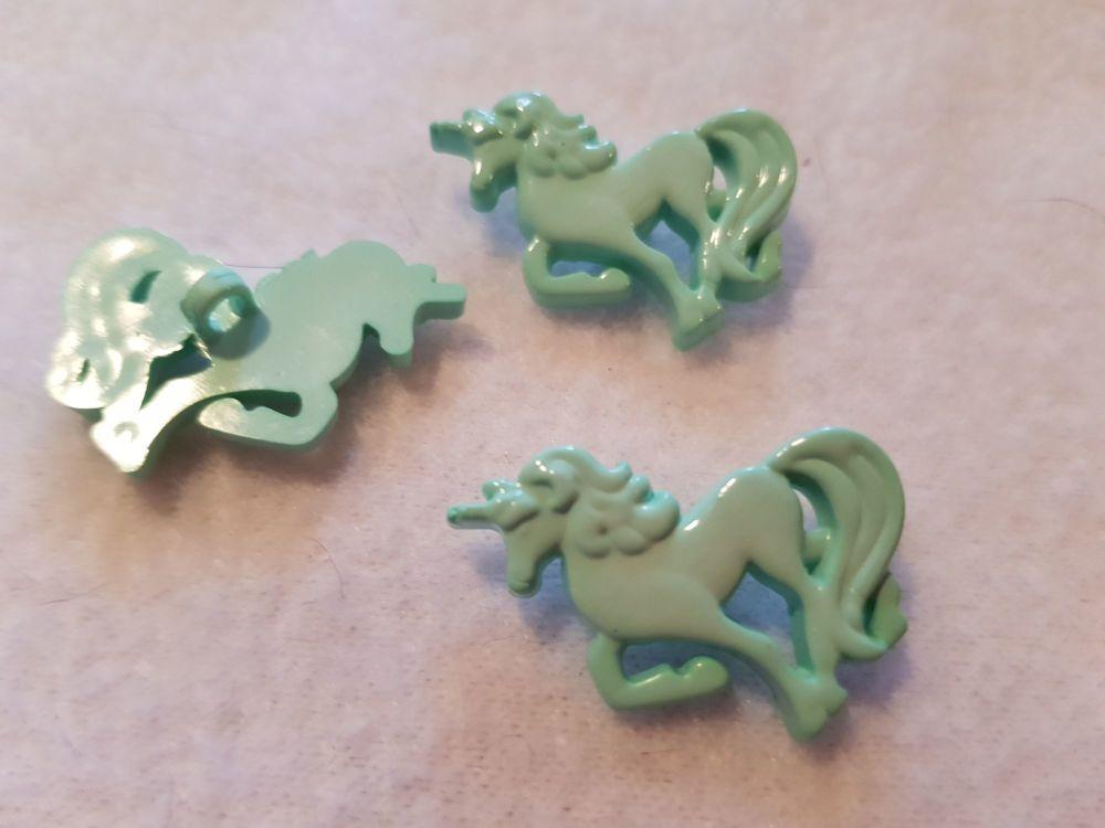 Unicorn Button -  Mint Green 25mm (each)