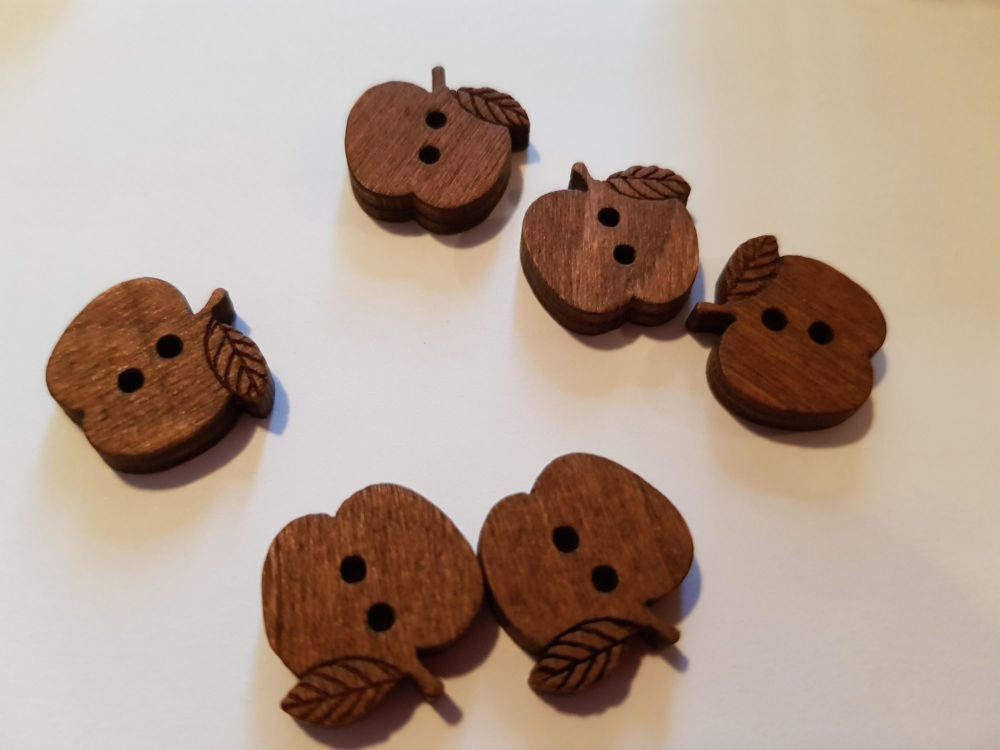 Wooden Buttons - Apple 15mm (each)