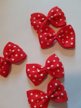 Red with White Dot Bow 36mm (Pack of 8)