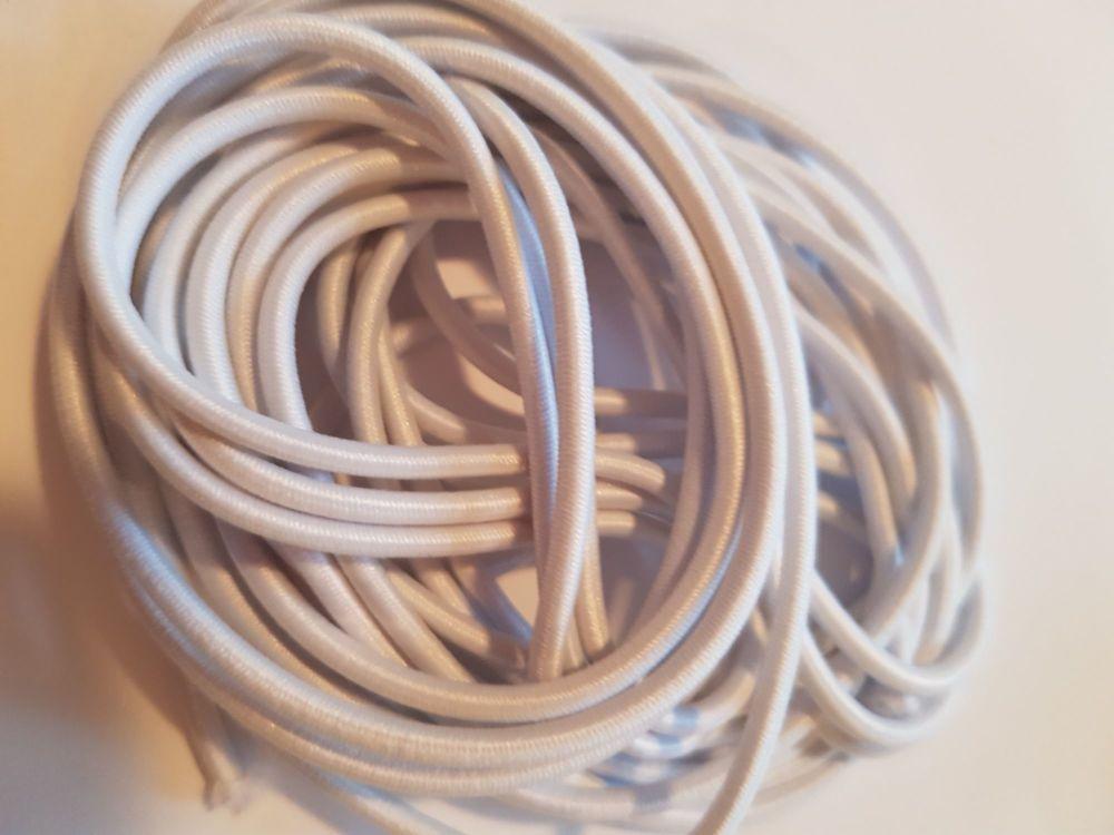 Round Elastic- White ( 4 metres)