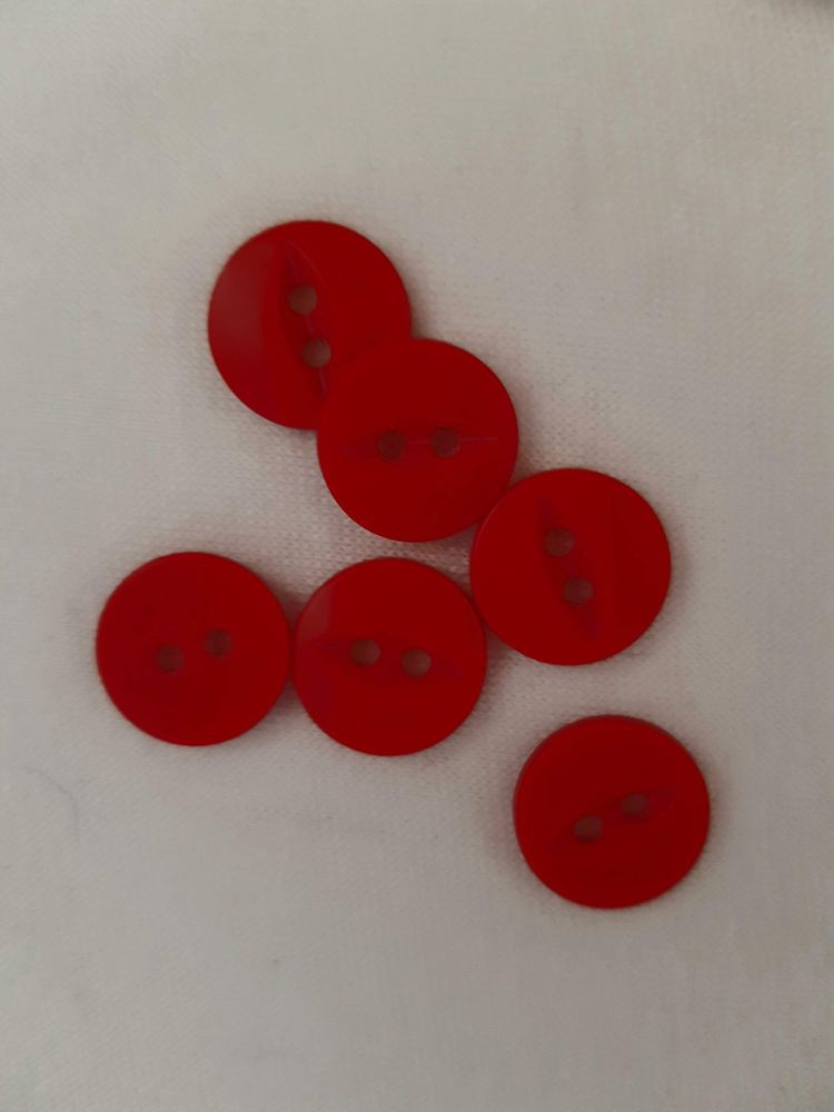 Red Fisheye Button 14mm (Pack of 15)
