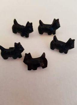 Black Scottie Dog Button 17mm (pack of 6)