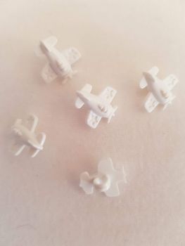 White Aeroplane Button 14mm (Pack of 8)