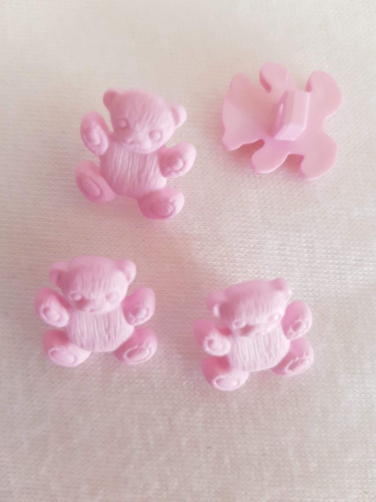 Pink Teddy Button 16mm (Pack of 8)