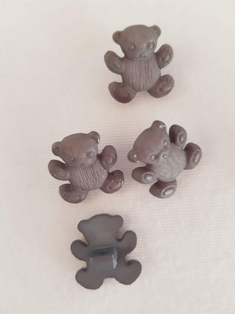 Grey Teddy Button 16mm (Pack of 8)