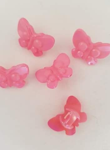 Pink Butterfly Button 22mm (Pack of 8)