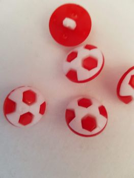 Red Football Button 17mm (Pack of 10)
