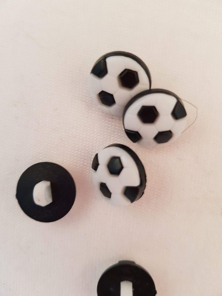 Black Football Button 14mm (Pack of 10)