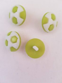 Lime Green Football Button 17mm (Pack of 10)