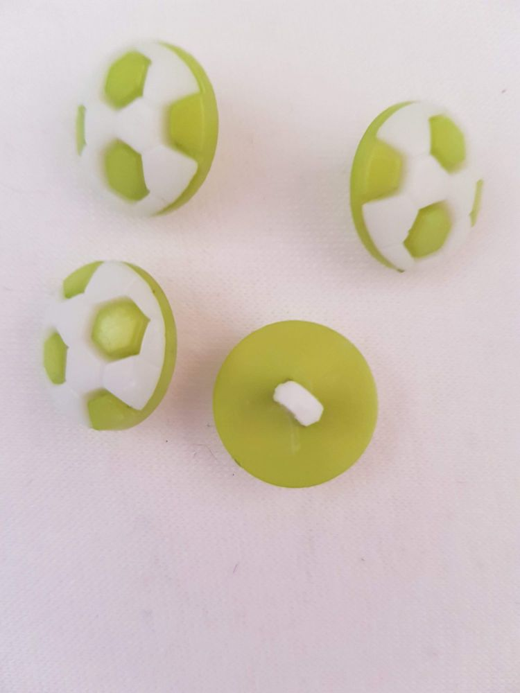 Lime Football Button 17mm (Pack of 10)