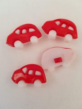Red Car Button 25mm (Pack of 8)