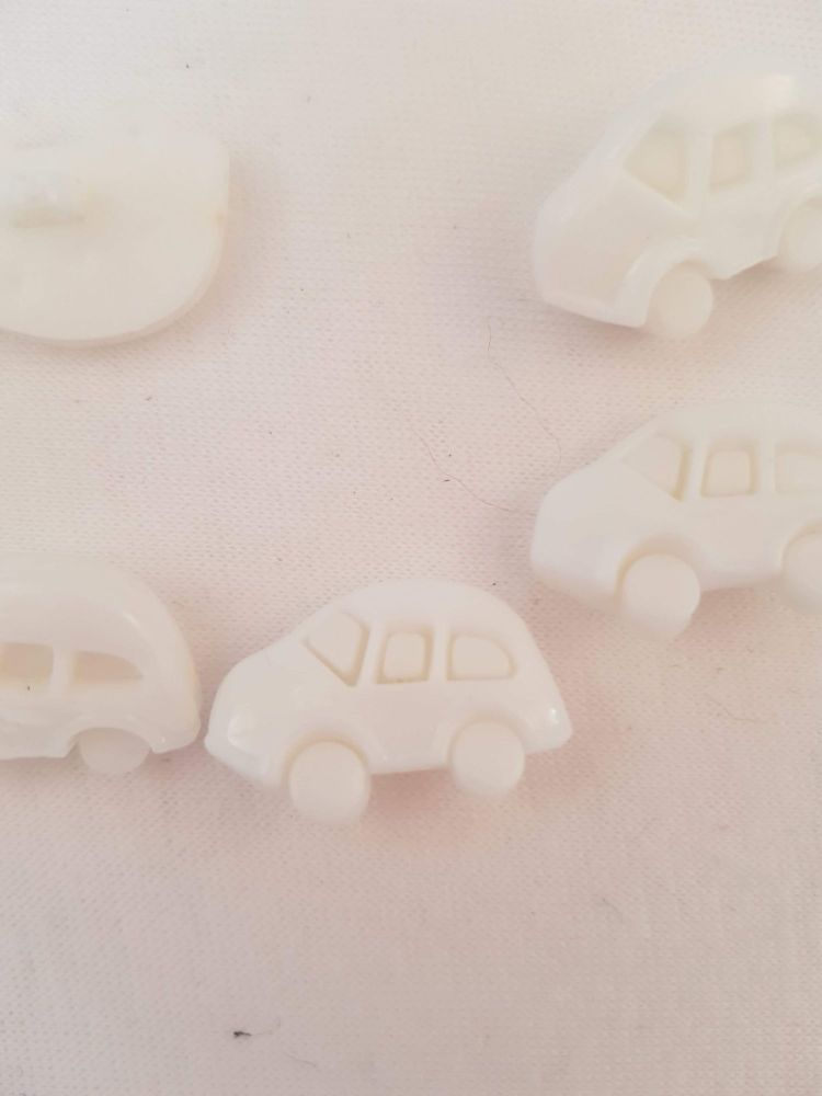 White Car Buttons 17mm (Pack of 10)