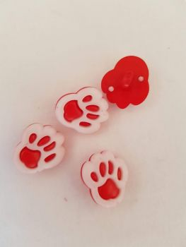 Red Paw Button 13mm (Pack of 10)