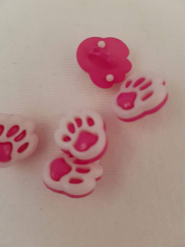 Cerise/Pink Paw Button 13mm (Pack of 10)