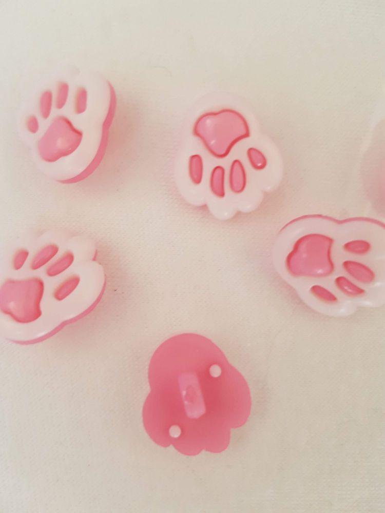 Pink Paw Button 20mm (Pack of 8)