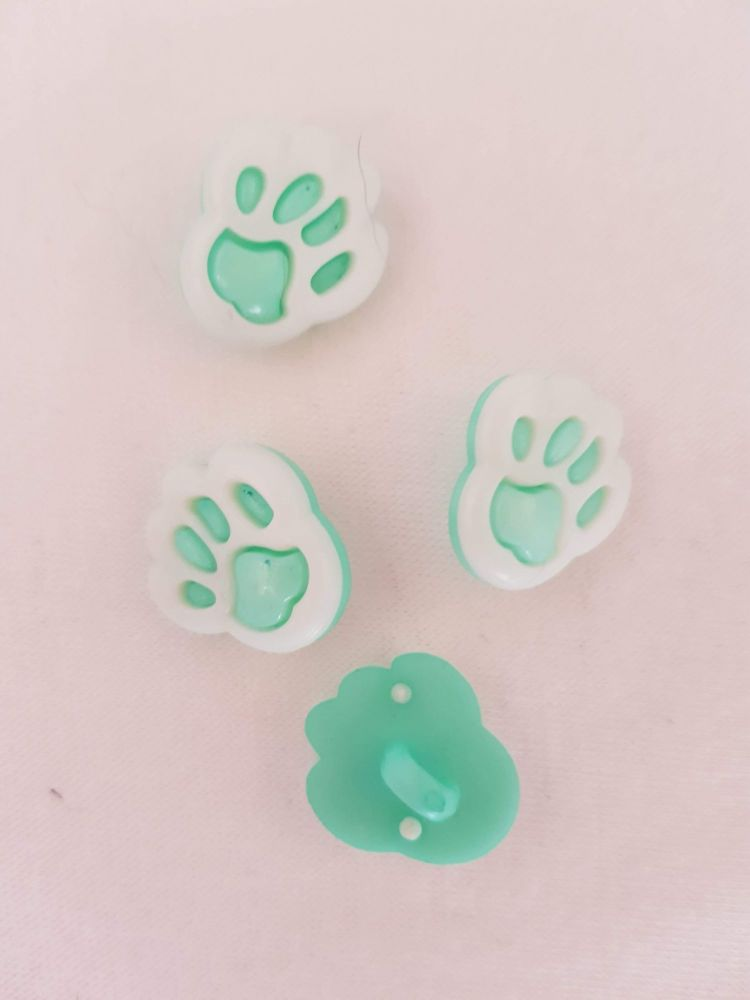 Mint Paw Button 20mm (Pack of 8)